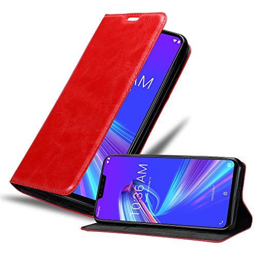 Cadorabo Custodia Libro per ASUS ZenFone Max M2 in Rosso Mela - con Vani di Carte, Funzione Stand e Chiusura Magnetica - Portafoglio Cover Case Wallet Book Etui Protezione