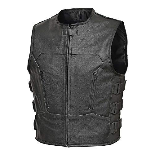 Men Full Grain Cowhide Leather Motorcycle Biker Bulletproof Style Vest Black (6XL)