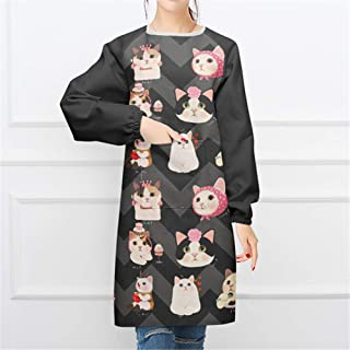 YXDZ Japanese Style Lucky Cat Fabric Home Fashion Simple Apron Long Sleeve Anti-Dressing Kitchen Baking Gown Cooking Adult Japanese Cat 9