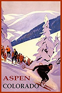 WINTER SPORTS ASPEN SKI RESORT COLORADO DOWNHILL SKIING USA TRAVEL VINTAGE POSTER REPRO ON PAPER OR CANVAS (12