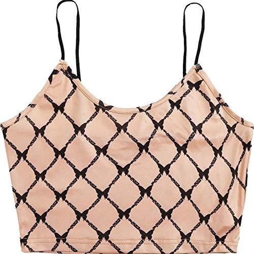Chaleco con Estampado de Mariposas para Mujer Moda Camisola de Encaje Camisola Blusa sin Mangas Sexy