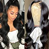 Grace Plus Hair 5x5 Lace Closure Wig 150% Density Brazilian Human Hair Glueless Pre-Plucked Body Wave Lace Front Wigs For Black Women Natural Color Body Wave Human Hair Wigs with Baby Hair (26inches)