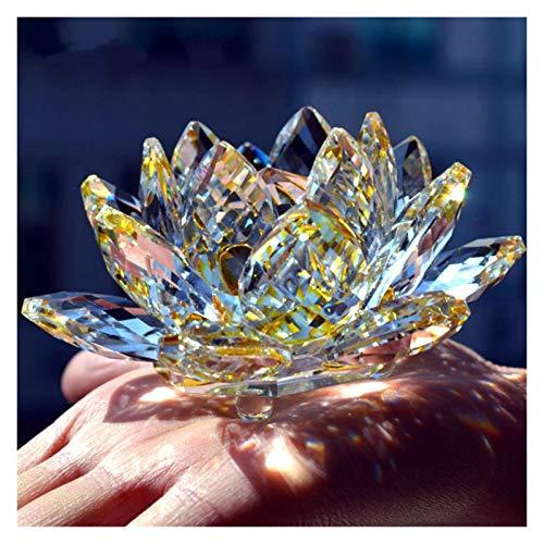 Regalos del banquete de 80 mm de cristal de cuarzo cristal de la flor de loto Crafts pisapapeles Fengshui Adornos Figuras Inicio decoración de la boda de recuerdo ( Color : Transparent , Size : 80mm )