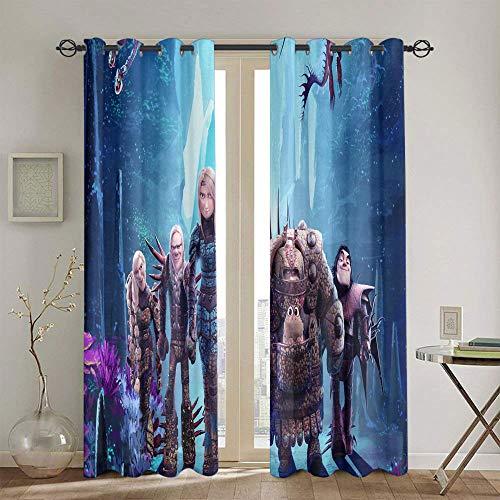 Cortinas opacas de oscurecimiento de la habitación, para ventana Cómo entrenar a tu dragón, cortinas opacas para sala de estar, 2 paneles de 183 x 160 cm