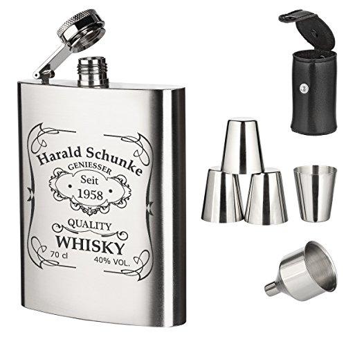 polar-effekt 7-TLG. Edelstahl Flachmann Geschenk-Set mit Gravur - Schnapsflasche 195ml mit Trichter und 4 Becher - Geschenkidee für Männer zum Geburtstag - Motiv Quality Whiskey