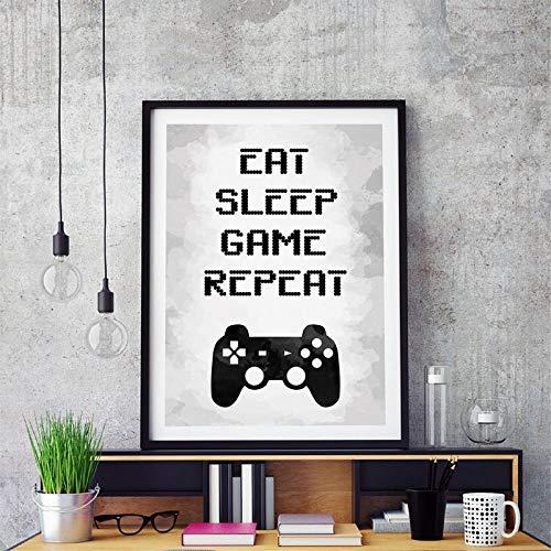 DOUYUAN Gaming Wall Art Cuadro de Pintura en Lienzo Imagen Eat Sleep Game Repita Video Game Party Poster Print Gaming Room Wall Art Decor 60x80cm