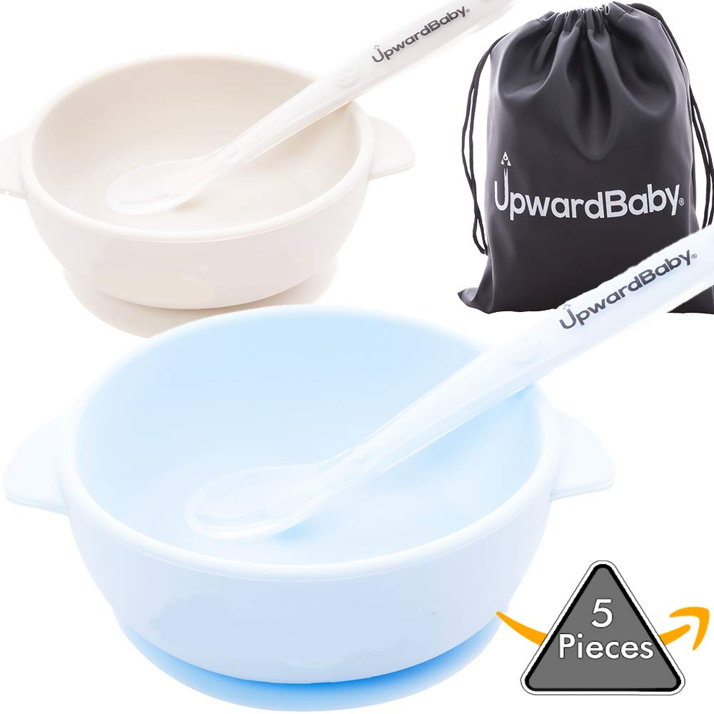 Spill Proof Silicone Baby Bowls with Guaranteed Suction Spoons Upward Baby Stay Put Bowl for Babies Kids Toddlers