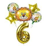 Globo de Papel de Aluminio 6 unids Little Lion Tiger Balloon 40 Pulgadas de Oro Número de Oro Foil Safari Zoo Theme Fiesta de cumpleaños Decoración de la Fiesta de cumpleaños Regalo de los niños