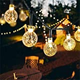 Solar String Lights 2-Pack 30 LED 19.8ft Globe Outdoor Waterproof Crystal Ball Christmas Decoration Lights Solar Patio Lights Decorative for Xmas Tree Garden Home Lawn Wedding Party Holiday