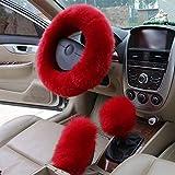Dirección cubiertas de la rueda 3pcs / Set invierno largo de lana de dirección del coche rueda de engranaje palanca de cambios estacionamiento cubierta del freno caliente de la felpa suave Mujeres Acc