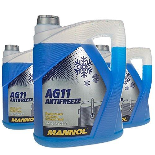 3 x 5 l MANNOL Longterm antifreeze AG11-40 ° C/antivries koelvloeistof kant-en-klaar mengsel blauw