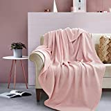 GONAAP Fall Knit Throw Blanket Lightweight Breathable Fuzzy Cozy Heather Jersey Thin Blanket All Season for Couch Sofa Bed Pink 56x65