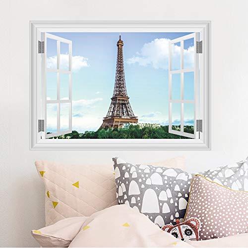 WLYUE Diy carta da parati, Parigi Adesivi murali Torre Eiffel Soggiorno Ristorante TV Divano Sfondo decorazione 3d finestra Adesivi murali Decorazioni per la casa