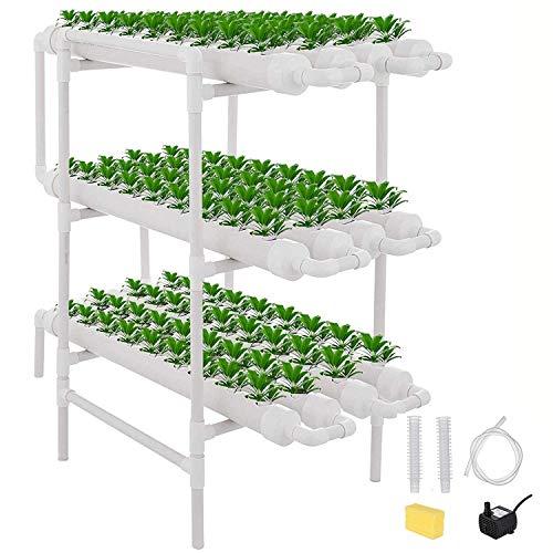 ETE ETMATE  Kit di Coltivazione idroponica per ortaggi, Verdure per Insalata, Fiori, Frutta PVC Hydroponic Pipe Home (Kit di Coltivazione idroponica 108 siti 12 Tubi, 3 Strati)