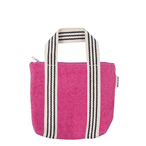 ARTEBENE Mini Bag Handtasche Smartbag Tragetasche verschließbare Tasche Organics Jute Pink