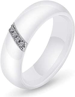 Bague homme femme sertie alliage rose cristaux céramique noire blanche 3 anneaux