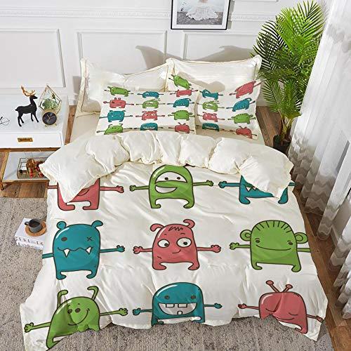 Bettwäsche-Set, Mikrofaser, Gekritzel, zwölf Monster nebeneinander niedliche Bestien Kinder Zeichnung entzückende Design Print, blaugrün grün ros,1 Bettbezug 240 x 260cm + 2 Kopfkissenbezug 80x80cm
