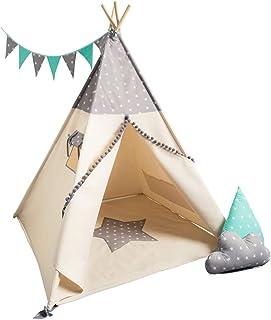 cozydots una Tienda India, Tipi Indio para los niños de 0-7 años, 150 cm de Altura, la Idea Juego Creativo para un niño y una niña, una Tienda India de Aventura (Grey Stars)