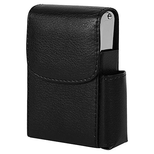 Fdit PU Leather Cigarette Box Case with Pouch Lighter Holder Cigarette Case Wallet Design for Men and Women Unisex(Black)