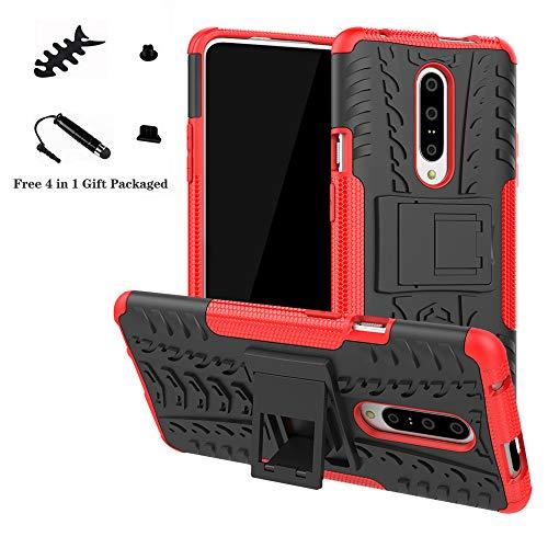 LiuShan Oneplus 7 Custodia, Protettiva Shockproof Rigida Dual Layer Resistente agli Urti con cavalletto Caso per Oneplus 7 (Not Fit Oneplus 6) Smartphone,Rosso