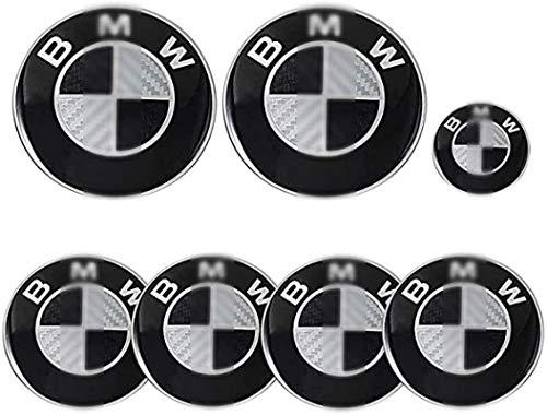 GUOSHUFANG 7 piezas para BMW 82 mm Emblema, capó y maletero y emblema de 68 mm y 45 mm Volante Emblema para la mayoría de los modelos BMW E34 E36 E38 E60 E61 E65 E66 X3 X5 X6 5 7