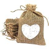 Sacchetti di juta con cuore bianco e cordoncino naturale. Borse juta per regali, 20 pz. Fai da te, bomboniera, battesimo, festa, compleanno, gioielli (10*14 cm), borse regalo in lino naturale.