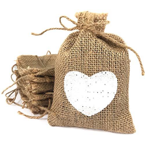 Bolsas de tela de arpillera pequeñas con corazón blanco impreso. Saquitos de yute para detalles. 20 bolsitas para bodas, bautizos, comuniones, cumpleaños… (10,5*15 cm) Sacos de lino beige para regalos