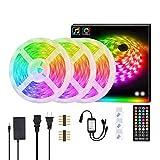 Tiras de luces LED, juego de tiras de luces 5050, tira de luces de 5 metros con 150 luces, tira de luces de música RGB de colores Tira de luz wifi inteligente sin Bluetooth