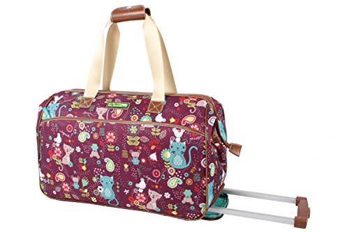 Lily Bloom Luggage Designer Pattern Suitcase Wheeled Duffel Carry On Bag (22in, Cat And Mouse)