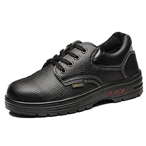 [モデルノ ラ テール] 靴 ロー カット 釘 踏み抜き 防止 安全靴 作業靴 鉄板 ブラック レースアップ メンズ ML-AGL 防水 防滑 吸汗(ブラック 27cm 44BK