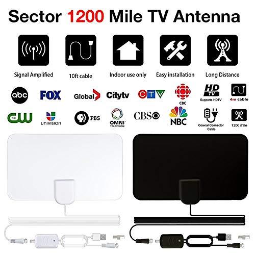 Jannyshop 1200 mijlen 4K versterkte digitale tv-antenne mini-HD-Indoor digitale HDTV-antenne