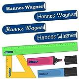 INDIGOS UG® Namensaufkleber Sticker - 36x7 mm - 300 Stück für Kinder, Schule und Kindergarten - Stifte, Federmappe, Lineale - Hintergrund blau - individueller Aufdruck