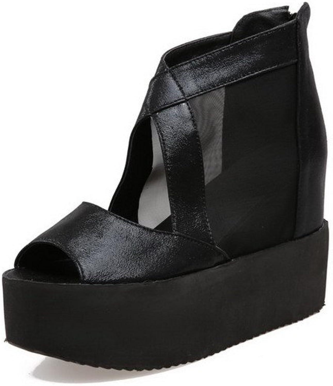 AmoonyFashion Women's Mesh Legging Peep Toe High Heels Zipper Solid Sandals