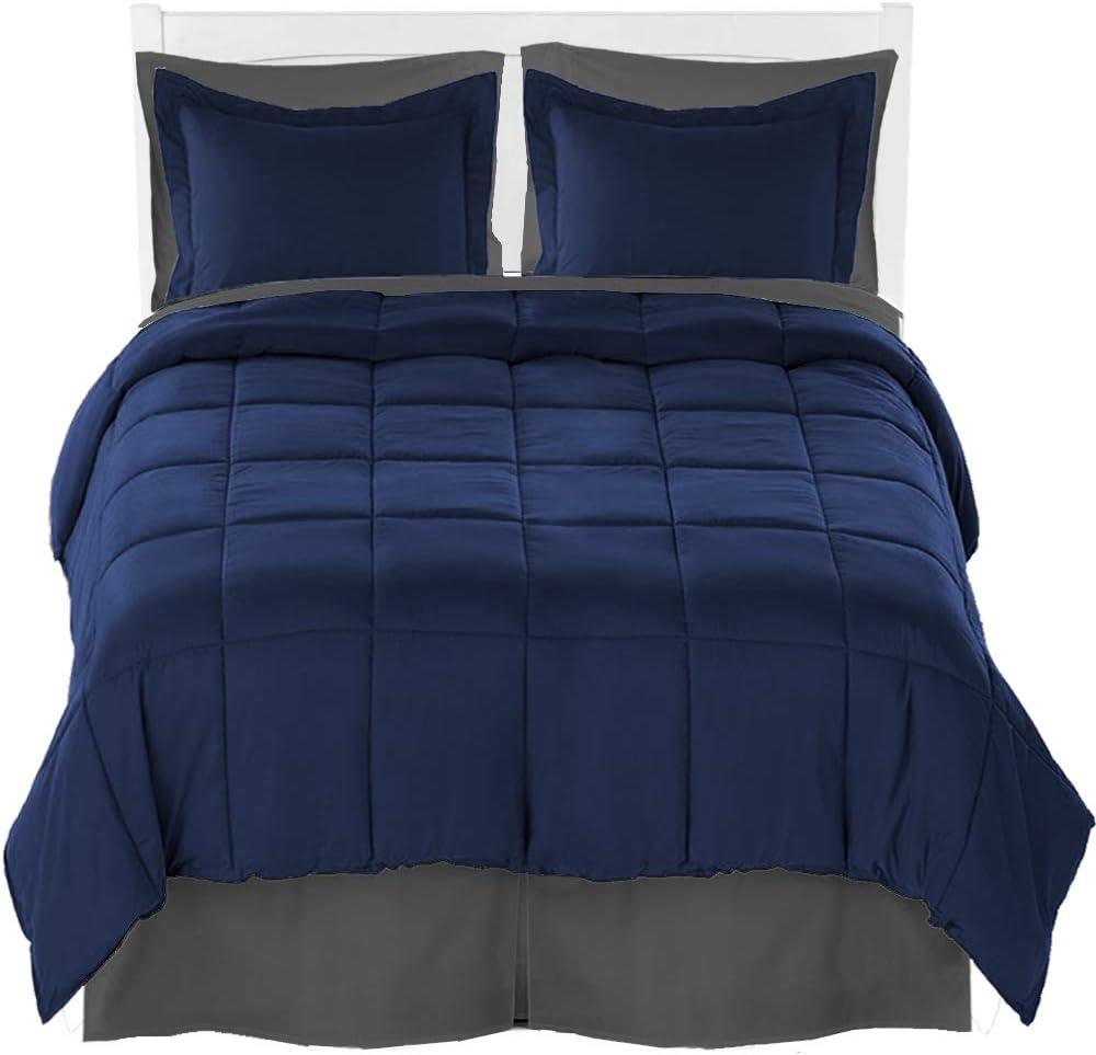 Full Comforter Set + Sheet Set + Bed Skirt - Premium Ultra-Soft Brushed Microfiber (Comforter Set: Dark Blue, Sheet Set: Grey, Bed Skirt: Grey)