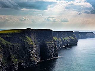 Canvas Prints - Cliffs of Moher in Ireland Oil Painting On Canvas Modern Wall Art Pictures For Home Decoration Wooden Framed (12X16 Inch, Framed)