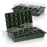com-four Set de Cultivo de 8 Piezas, Set con Tinas de Agua, Tapas de Invernadero y Macetas para el Cultivo de Plantas en Interiores (8 Piezas - Set de Cultivo 38x25cm)