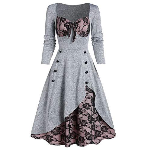 Aiserkly Damen Halloween Kleid Plus Size Cold Shoulder Gothic Kleid mit Schmetterlingsärmeln Hexenkostüm Mittelalter Renaissance Kostüm Cosplay Karneval Fasching Kleid Y-Grau XL