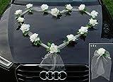 ORGANZA HERZ Auto Schmuck Braut Paar Rose Deko Dekoration Autoschmuck Hochzeit Car Auto Wedding Deko Girlande PKW (Ecru / Ecru)