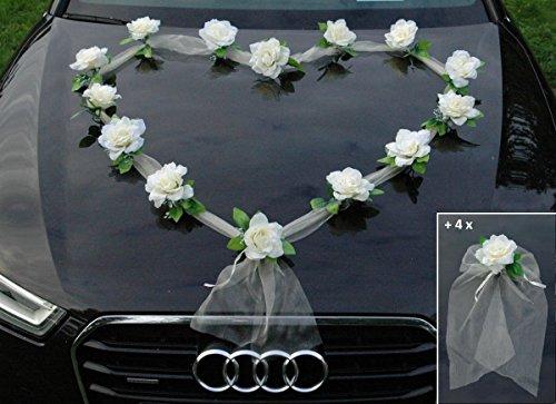 Autoschmuck Organza Herz Auto Schmuck Braut Paar Rose Deko Dekoration Hochzeit Car Auto Wedding Deko Girlande PKW (Ecru/Ecru)