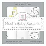 SwaddleDesigns Cotton Muslin Squares, Set of 3, Sterling Jungle Friends