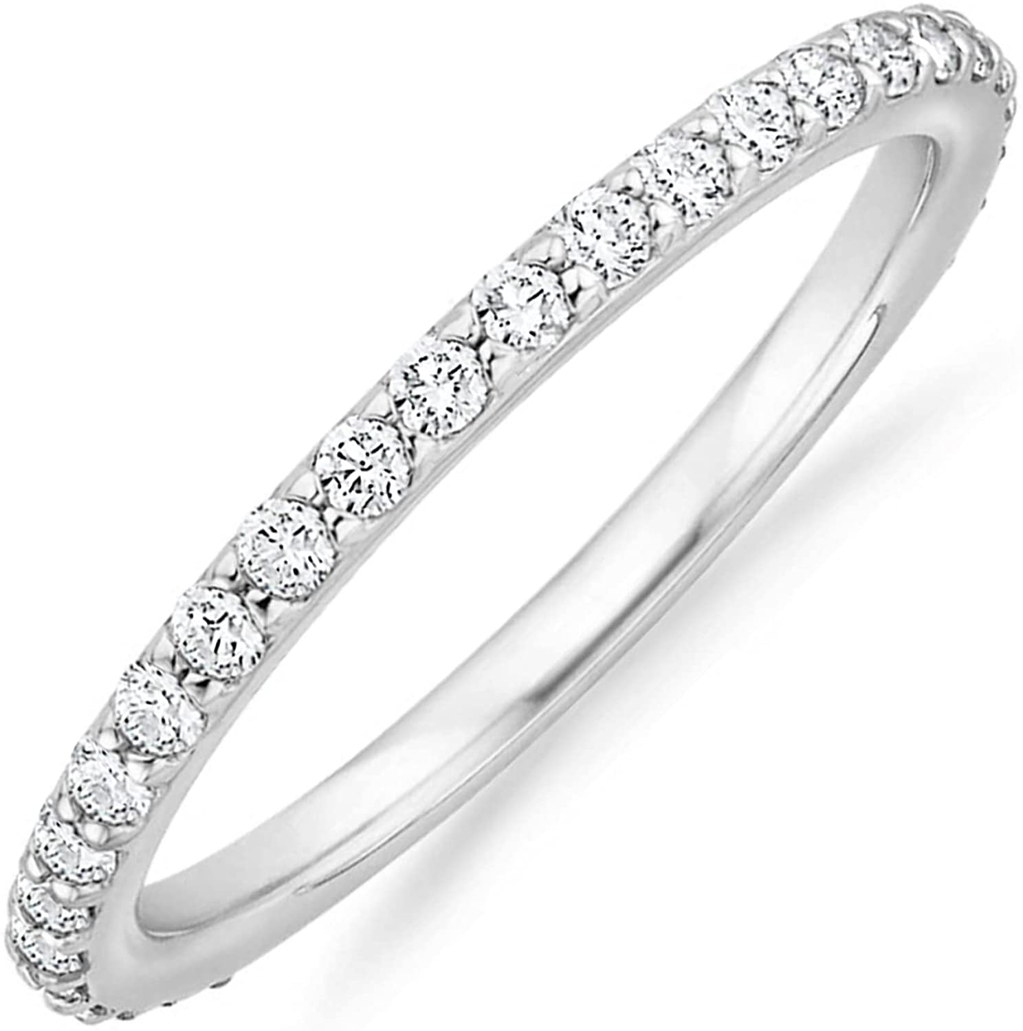 PAVOI 14K Gold Plated Cubic Zirconia Diamond Stackable Eternity Bands for Women