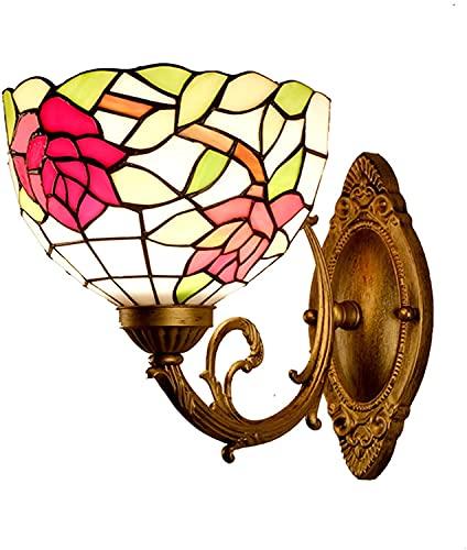 QEGY Dormitorio de la luz de la pared Tiffany, lámpara de pared de la vendimia con color rojo rosa flor decoración de la luz, la pared de cristal naranja pastoral escono e27 con base de metal de bronc
