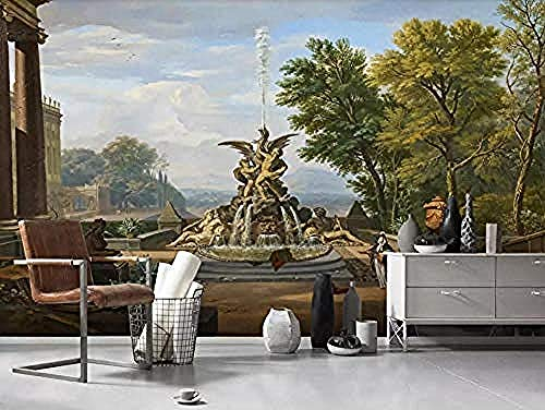 Skulptur Brunnen Vintage Garten Tapete Vlies Wanddekoration Tapete Grau Wandaufkleber Grenze Selbstklebende Backste Wanddekoration fototapete 3d Tapete effekt Vlies wandbild Schlafzimmer-400cm×280cm