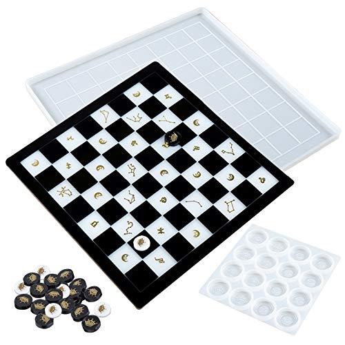 FUNSHOWCASE Juego de tablero de ajedrez de resina epoxi moldes de silicona, piezas de ajedrez, juguete de cemento y arcilla polimérica, juego de 2 unidades
