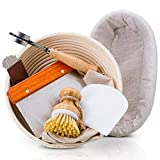 PRYNEX Bread Proofing Basket Set with Accessories - 100% Natural Rattan, 9' Round, 10' Oval Banneton Basket with Liners, Scrapers, Wood Lame, Brush - Includes Recipe E-book, Cutting & Scraping Tools