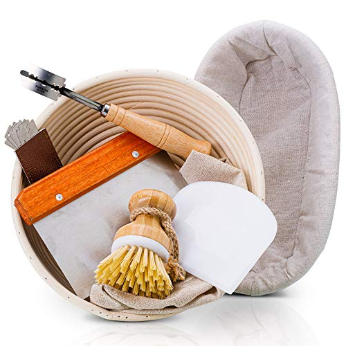 """PRYNEX Bread Proofing Basket Set with Accessories - 100% Natural Rattan, 9"""" Round, 10"""" Oval Banneton Basket with Liners, Scrapers, Wood Lame, Brush - Includes Recipe E-book, Cutting & Scraping Tools"""