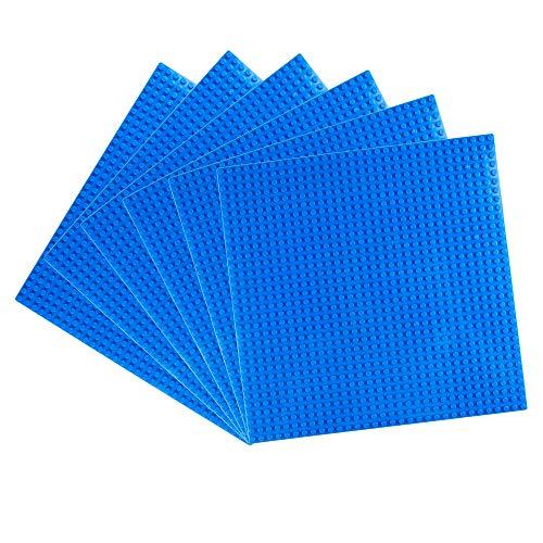 LVHERO 6 Platten-Set Bauplatte Kompatibel mit Meisten Marken, 25*25 cm, Kreatives Spielen, Lernspielzeug (Blau)