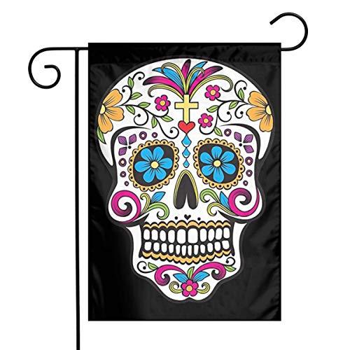 MSGUIDE Sugar Skull Garden Flag Flower House Yard Decoration 12x18 Inch for Outdoor Balcony