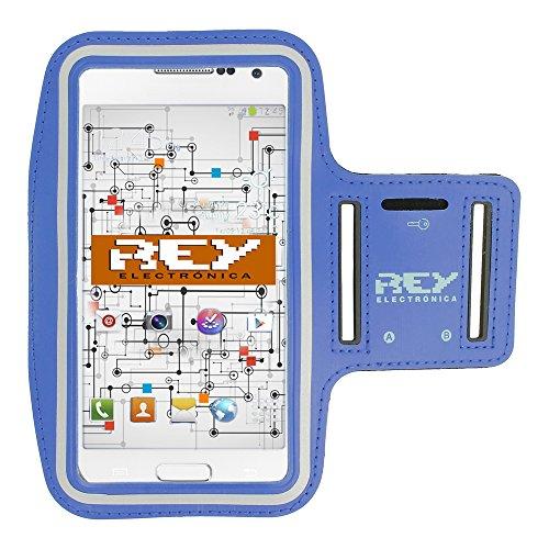 REY Brazalete Deportivo Reflectante S para Smartphones Desde 3,5' hasta 4', en Color Azul