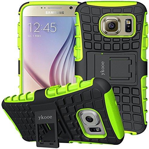 ykooe Galaxy S6 Hülle, S6 Hülle (TPU Series) Dual Layer Hybrid Handyhülle Drop Resistance Handys Schutz Hülle mit Ständer für Samsung Galaxy S6 (Grün)